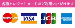 各種クレジットカードが使えます。